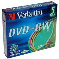 Verbatim DVD-RW 4x, COLOURS 5ks v SLIM krabičce